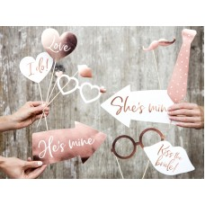 Wedding photo props, mix (1 pkt / 12 pc.)