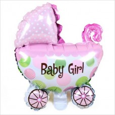 Foil Balloon Baby Girl Stroller, 78cm x 72cm - 1pc