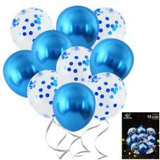Set balloons confetti blue, 10pcs