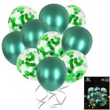 Set balloons confetti green, 10pcs