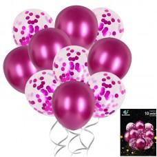 Set balloons confetti pink, 10pcs