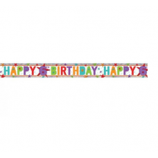 Holographic Happy 6th Birthday Multi Coloured Foil Banner - 2.7m