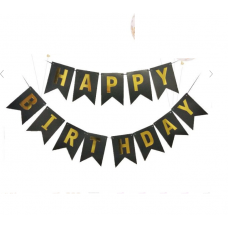 Banner Happy Birthday. black with golden letters, 15cm x 195cm
