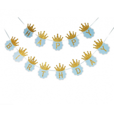Banner Happy Birthday - crown glitter - blue