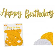 Banner Happy Birthday, gold