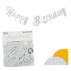 Glitter banner Happy Birthday, silver
