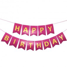 Banner Happy Birthday. hot pink with golden letters, 15cm x 175cm