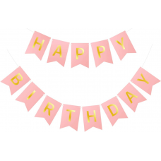 1 Banner Happy Birthday, light pink, 15 x 175 cm