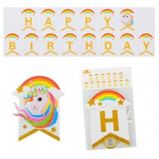 Banner Happy Birthday Unicorn, 2m x 20cm