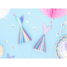 Party hats Mermaid, iridescent, 18cm (1 pack / 6 pc.)