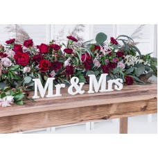 Wooden inscription Mr & Mrs, white, 50x9.5cm