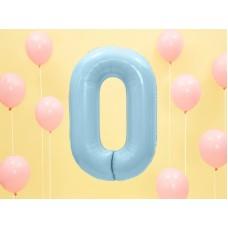 "Foil Balloon Number ""0"", 86cm, light blue"
