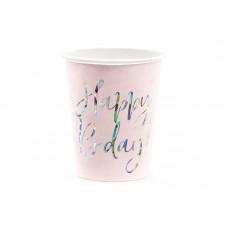 Cups Happy B'day!, light powder pink, 220ml (1 pkt / 6 pc.)