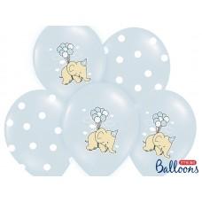 Balloons 30cm, Elephant, Pastel Baby Blue Mix (5pc.)