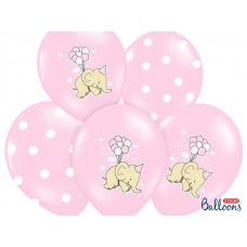 Balloons 30cm, Elephant, Pastel Pink Mix ( 5pc.)