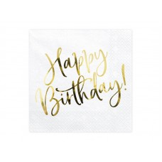 Napkins Happy Birthday, white, 33x33cm (1 pkt / 20 pc.)