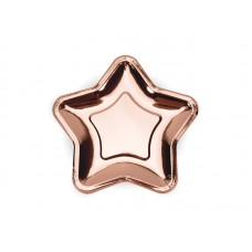 Paper Plates Star, rose gold, 18cm (1 pkt / 6 pc.)