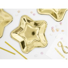 Paper Plates Star, gold, 18cm (1 pack / 6 pc.)