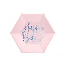 Plates Happy B'day!, light powder pink, 20cm (1 pkt / 6 pc.)