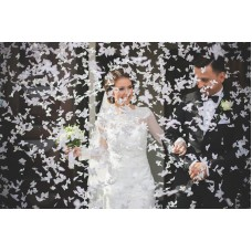 Confetti cannon with butterflies, white, 60cm