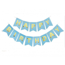Banner Happy Birthday. light blue with golden letters, 15cm x 195cm