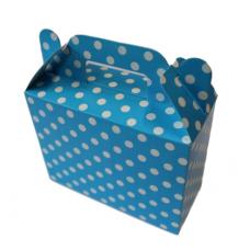 Paper boxes for sweets, dots, blue, 6 pcs (14cm х 6cm х 11cm)