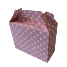 Paper boxes for sweets, dots, pink, 6 pcs (14cm х 6cm х 11cm)