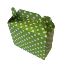 Paper boxes for sweets, dots, green, 6 pcs (14cm х 6cm х 11cm)