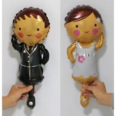 Mini Foil Balloons bride and groom, 2 pcs, 35 cm
