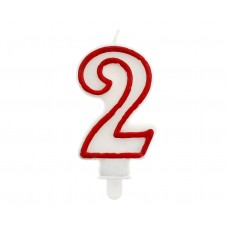 "Digit candle ""2"", red outline, 7 cm"