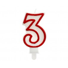 "Digit candle ""3"", red outline, 7 cm"