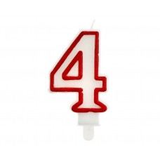 "Digit candle ""4"", red outline, 7 cm"