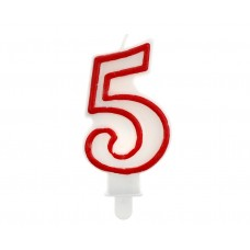 "Digit candle ""5"", red outline, 7 cm"