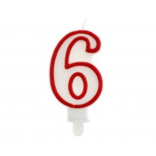 "Digit candle ""6"", red outline, 7 cm"