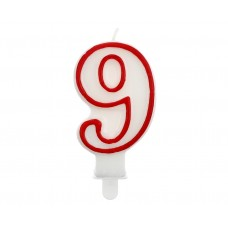 "Digit candle ""9"", red outline, 7 cm"