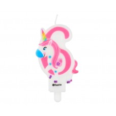 Candle number 6, with unicorn, 7,8 cm