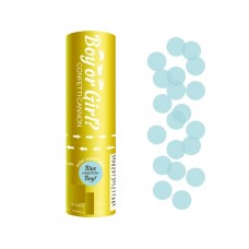 Confetti cannon Boy or Girl light blue paper circles, 15 cm