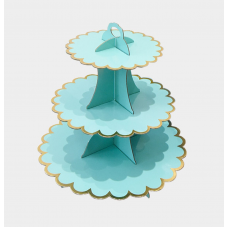 Cupcake Stand - 3 tier - light mint with metallic golden edges