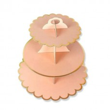 Cupcake Stand - 3 tier - light peach with metallic golden edges