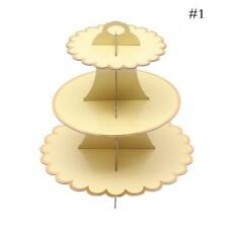 Cupcake Stand - 3 tier - light yellow with metallic golden edges