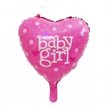 "Heart foil Balloon ""Baby Girl"" 43cm - pink"