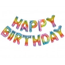 "Foil Balloon Set ""Happy Birthday"", Rainbow - 13 letters"
