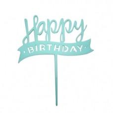 Happy Birthday Acrylic Cake Topper light blue