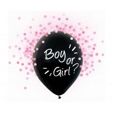 "Helium formula balloons Boy or Girl, pink confetti, 12"", 4 pcs."