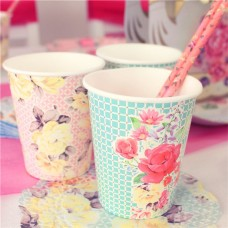 8 Truly Scrumptious Vintage Paper Cups - 250ml