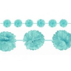 2 Fluffy Garlands Colourful, Mint - turquoise, 365 x 13,9 cm