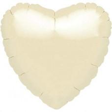 Standard Heart Metallic Pearl Ivory Foil Balloon S15 Unpackaged