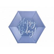 Plates Happy B'day!, navy blue, 20cm (1 pkt / 6 pc.)