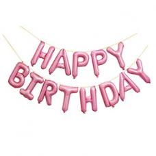 Foil Balloon Happy Birthday, 34 x 35cm, dusty rose