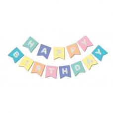 Banner Happy Birthday, pastel colors, 16cm x 195cm